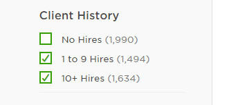 Client History Filter